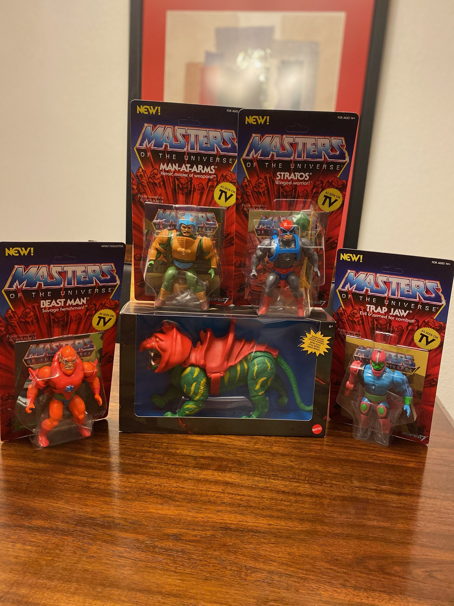 MOTU MAN AT ARMS BEAST MAN STRATOS TRAP JAW & Battle Cat